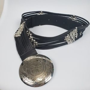 Chico's Leather Strand belt with silver hardware